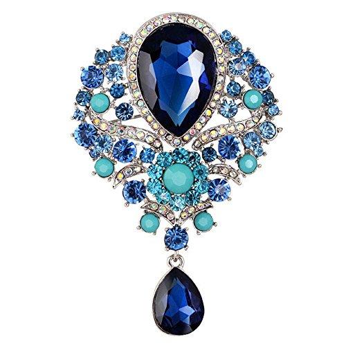 Botrong Large Fashion Drop Pendant Wedding Lady Rhinestone Brooch (Dark Blue)