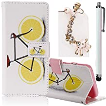 Samsung Galaxy Grand Prime G530 Case, Boince 3 in 1 Accessory Book Style Magnetic Snap PU Leather Flip Wallet Case + [Diamond Antidust Plug] + [Metal Stylus Pen] Anti Scratch Shockproof Full Body Skin Cover Protective Bumper-Lemon Bicycle