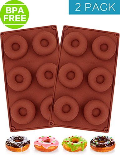 PERNY Donut Pan, 6-Cavity Nonstick Silicone Donut Pan, Pack of 2