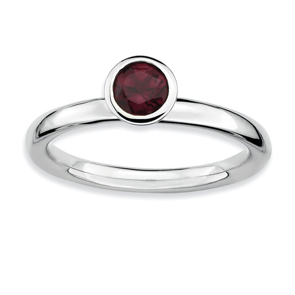 Top 10 Jewelry Gift Sterling Silver Stackable Expressions High 5mm Round Rhod. Garnet Ring