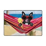 Vantaso Soft Foam Rugs Non Slip French Bulldog On Ocean Beach Eating Ice Cream for Kids Playing Room Living Room 72x48 inch