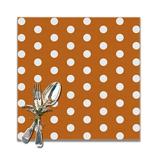 LALACO-Design UT Longhorns Texas Dots Pattern Print Placemats Set of 6 Washable Table Mats 12x12 -