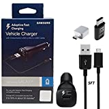 Official Samsung Adaptive Fast Charging Vehicle Car Charger With Micro to C & C TYPE OTG Adapter for Galaxy S6/7/8/9/Note4/5/8/+/Edge/Google Pixel/XL/X/2 (US Retail Packing Kit)