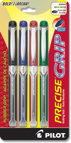 Pilot Precise Grip Liquid Ink Rolling Ball Pens, Bold Point, 4-Pack, Black/Blue/Red/Green Inks (28944) by Pilot