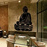 budhasuite® Vinilo Decorativo Buda Lotus .(80x60cm Aprox.) Color Negro,