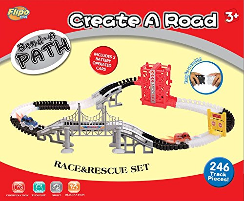 Bend A Path Race And Rescue Set - 12 Feet Of Track With Exclusive Elevator, Swinging Doors And Bridge