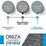 Oniza 8 Pack CR 1632 Battery Lithium 3v Batteries