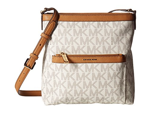 MICHAEL Michael Kors Women's Morgan Medium Messenger PVC Logo Vanilla Crossbody Bag (Kors Michael Warranty Bag)