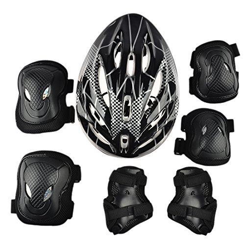 7Pcs Adult Sports Safety Protective Gear Set, RuiyiF Elbow Pad Knee Support Wrist Guard and Helmet for Adult Skateboard Skating Blading Cycling - Wrist Guard Set