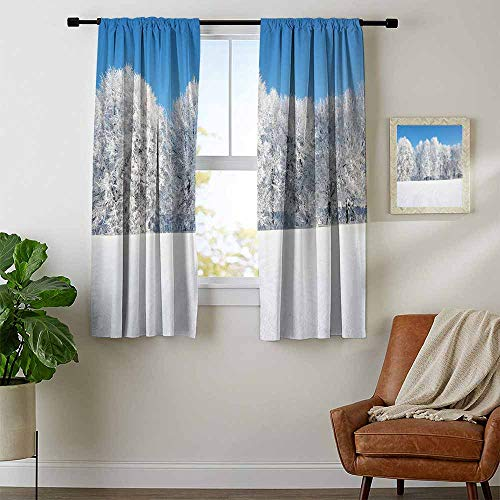 Mozenou Winter, Curtains and Valances, Frosted Trees in The Forest with Snowy Fields Cool Looking Seasonal Photography, for Bedroom, W72 x L63 Inch