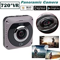Auhko 360 Camera Dual Lens VR Camera 1080P 220 Degree Wide Angle Video Camera Panoramic Sports Action Cam Built in Wifi