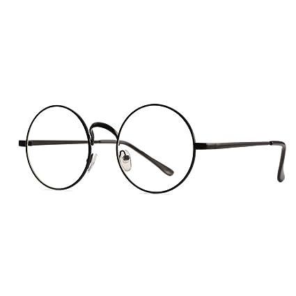 7862c68d5f Skitic Unisex Round Retro Glasses Metal Frame Clear Lens Vintage Plain Spectacles  Eyewear Geek Glasses Decor Eyeglasses for Men and Women - Black  ...