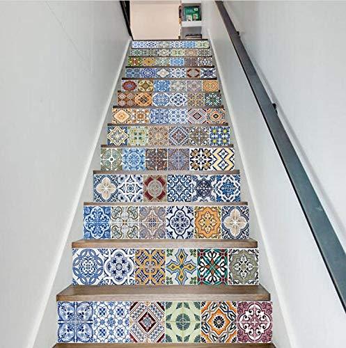 Cheap  FLFK 13pcs/Set 3D Self-Adhesive Tile Stickers Stair Mural Vinyl Kitchen Bathroom Decal..
