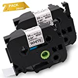 Wonfoucs 2 Pack Compatible Brother P-Touch TZe-251 TZ251 Label Tape, Black on White Standard Laminated Cassettes, 1'' (0.94'') x26.2 ft. (8m)