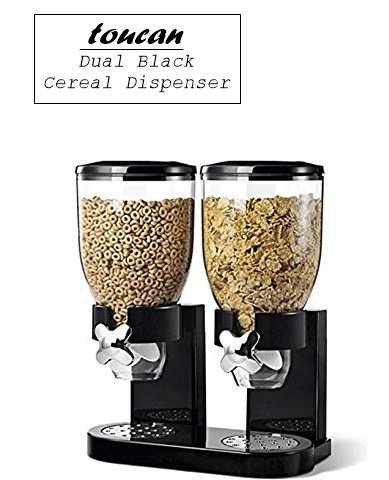 Toucan double black cereal topping dispenser twin canister for easy toucan double black cereal topping dispenser twin canister for easy storage of dry food ccuart Images