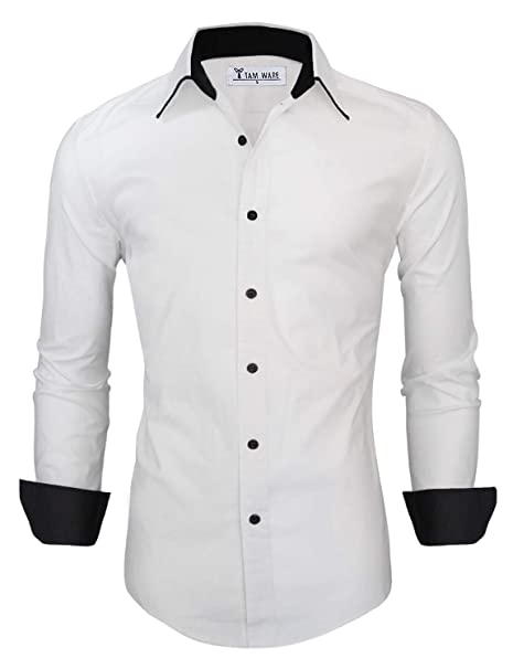9b60336b606 TAM WARE Men s Trendy Slim Fit Contrast Inner Long Sleeve Button Down Shirt  at Amazon Men s Clothing store