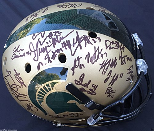2015-16-MICHIGAN-STATE-SPARTANS-XP-GOLD-FULL-SIZE-HELMET-LJ-SCOTT-THOMAS-COA-J1