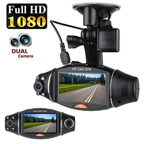 EEEKit LCD Screen Dual Lens Front Car Dash Cam, FHD 1080P Dashboard Camera with G-Sensor Parking Monitor WDR Loop Recording Night Vision Driving DVR Recorder