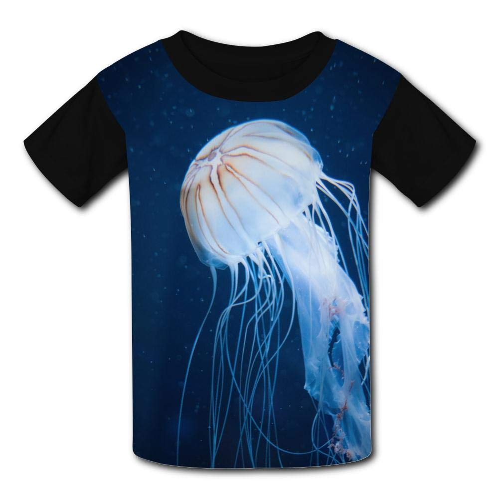 Lcso47 Kids T-Shirt Big White Light Jellyfish 3D Printed Crew Neck Youth T Shirts Tee for Boys Girls Children