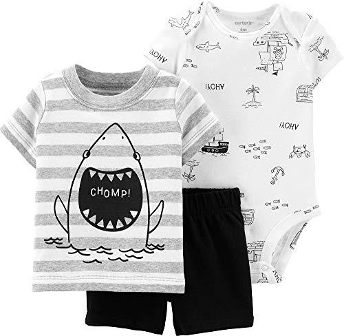 Carters Baby Boys 3-pc. Shark Chomp Stripe Layette Set 9 Months Black/Grey/White ()