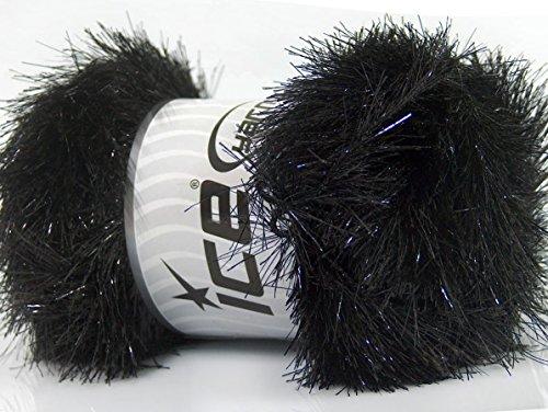 (Lot of 4 x 100gr Skeins ICE EYELASH DAZZLE Hand Knitting Yarn Black )