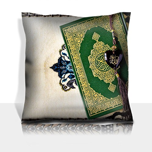 MSD Throw Pillowcase Polyester Satin Comfortable Decorative Soft Pillow Covers Protector sofa 16x16, 1pack IMAGE ID 23730192 The holy Quran by MSD