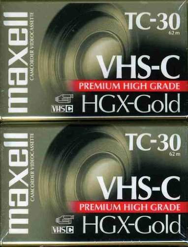 Maxell 203020 HGX-GOLD TC-30 Camcorder Video Cassette, 2 Pack 10 Blank Tapes Hgx Gold Tc 30