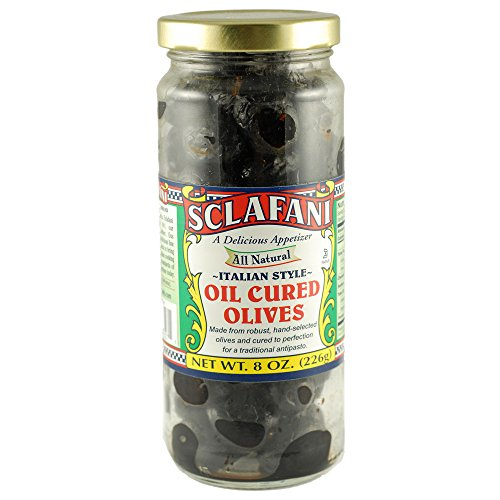 Sclafani Oil Cured Olives Italian Style 7 oz jars (2 (Oil Cured Black Olives)