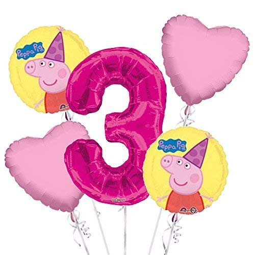 Peppa Pig Balloon Bouquet 3rd Birthday 5 pcs - Party Supplies Pink