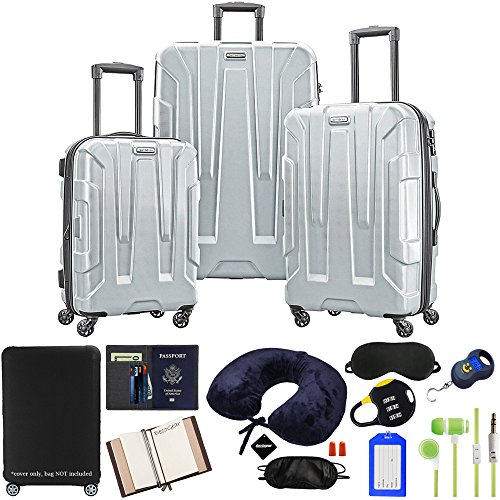 (Samsonite Centric 3-Piece Hardside Luggage Set, Silver with 10pc Accessory Kit)