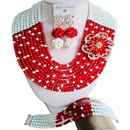 laanc joyería 10filas rojo y blanco cristal perlas de África Nigeria boda fiesta joyas Sets
