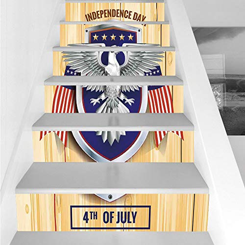Stair Stickers Wall Stickers,6 PCS Self-adhesive,4th of July Decor,Celebration Party Place for Annual National Happy States Artsy Image,Red Petrol Blue,Stair Riser Decal for Living Room, Hall, Kids Ro