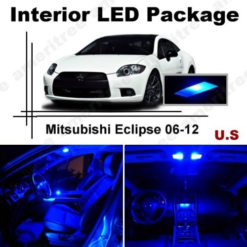 Ameritree Mitsubishi Eclipse 2006-2012 (8 Pieces) Blue LED Lights Interior Package and Blue LED License Plate ()