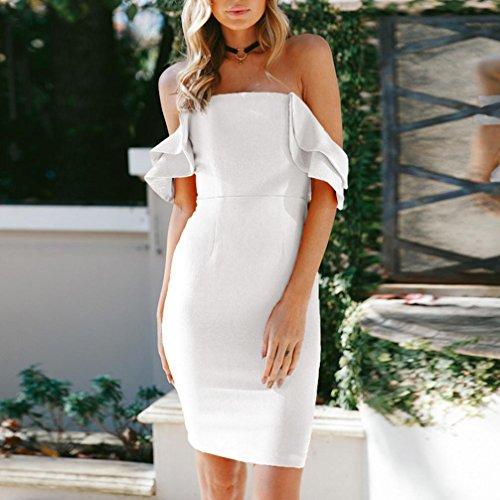 Damen Die Kleid Party Bodycon Abend Weiß Kurzarm Fashion Sommer Kurzes Schulter gaddrt Minikleid Sexy dwUfxqX6dI