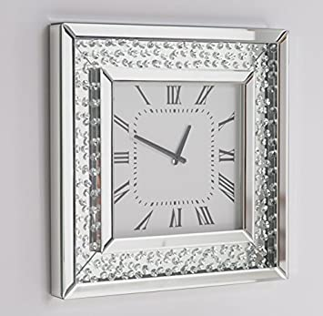 A Floating Crystal Wall Clock with Bevelled Mirror Glass Square
