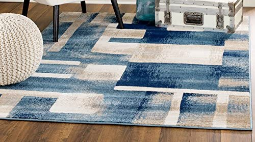MADISON COLLECTION 404 Modern Abstract Blue Area Rug Clearance Soft and Durable Pile. Size Option 3 .7 x 5 , 3 .7 x 5