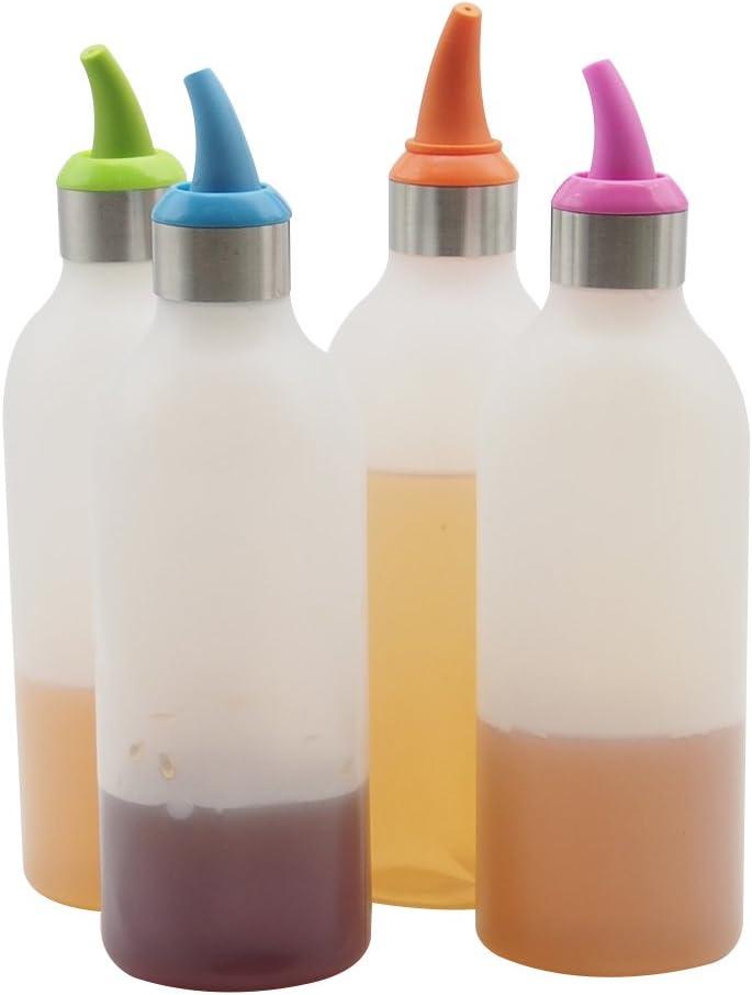 Lancoon Botellas de Plastico Pack de 4 Botellas Dispensadores Rellenables para Ketchup Mostaza Vinagre Salsas Aceite Transparentes Sin BPA KT30