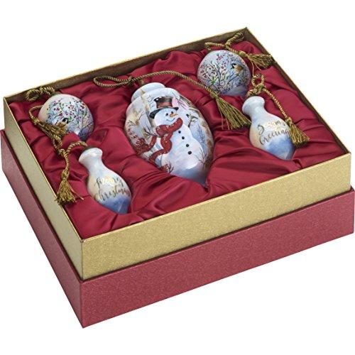 Ne'Qwa Art Hand Painted Blown Glass Birch Forest Snowman Gift Set (Set of 5), - Ornaments Hand Painted Snowman