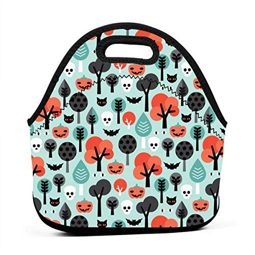 Crazy Halloween Pumpkin Cat And Skull Illustration Pattern_9869 Portable Lunch Containers, Work Lunches bag, Picnic, Travel, BBQs, Camping, -