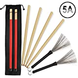 5A Drumsticks, 2 Pairs Classic High Quality Maple Drum Stick Sets With Retractable Wire Drum Brush and Professional New Style Bundle Drum Stick Dowel Drumsticks Plus Waterproof Bag Accessories