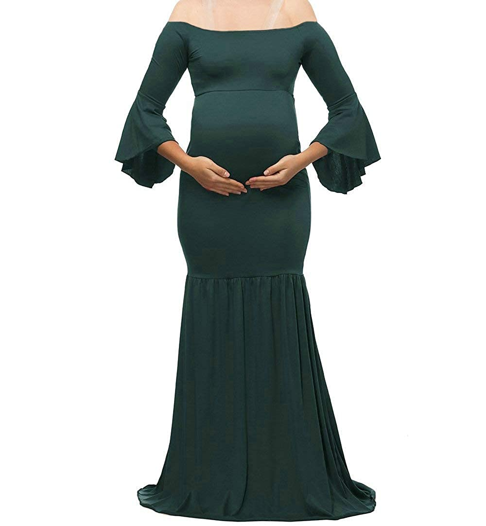 iRunzo Off Shoulder Photography Maternity Dress Pregnancy Photoshoot Maxi Gown QQ-LBX