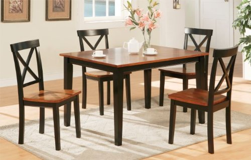 Poundex Chic Modern Poundex F2250 Cherry and Dark Oak Finish Dining Set, 5 Piece