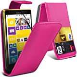( Hot Pink ) Nokia Lumia 1520 Premium Faux Credit / Debit Card Slot Leather Flip Skin Case Cover & LCD Screen Protector Guard by Fone-Case