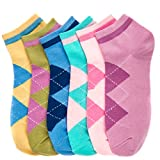 Women's (12 Pairs) Everyday Low Cut Patterned Socks -Argyle