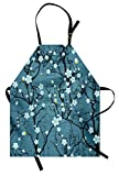 Lunarable Floral Apron, Sakura Tree Branches Japanese Cherry Blossom Style Spring Kitsch Graphic Artwork, Unisex Kitchen Bib Apron with Adjustable Neck for Cooking Baking Gardening, Slate Blue