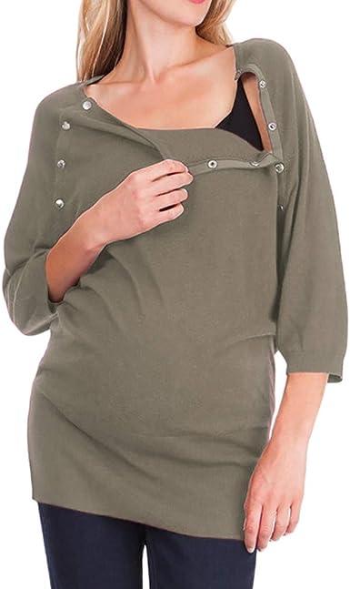 Mitlfuny Ropa Premamá Camisa Mujer Blusa Lactancia de Maternidad ...