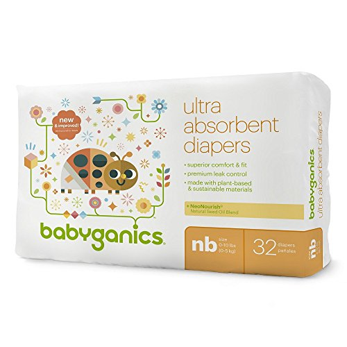 Babyganics Ultra Absorbent Baby Diapers, Newborn, 32 Count