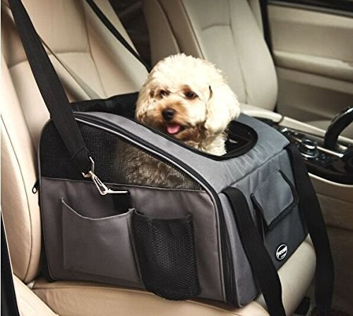Wowelife Pet Car Seat Carrier Airline Approved for Dog Cat Lookout Pets up to 15 lbs (S, Gray)