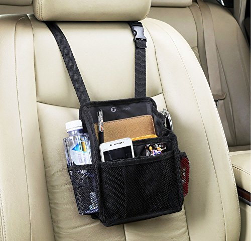 Zone Tech 7-Pocket Organizer - Black Sturdy Rugged Pack Cloth Compact Car Back Seat Headrest Organizer Vehicle Item Storage Holder - Swing Away Seat