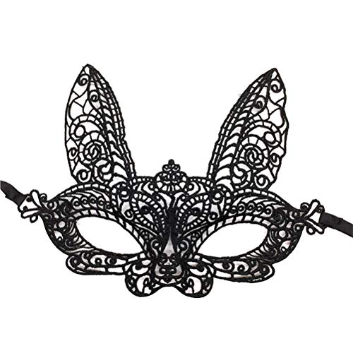 4pcs Half Face Mask Bunny Rabbit Lace Eyemask Halloween Costume Party Prom Mask for Cosplay Masquerade Party Accessory (Black) for $<!--$7.59-->